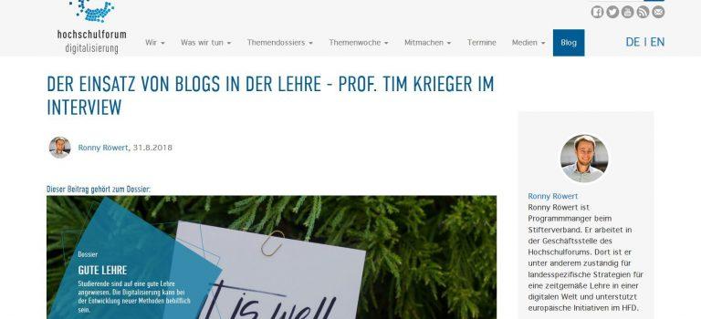 Blogs in der Hochschullehre: Ein Interview